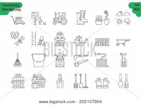 Vector set of 24 linear outline icons. Gardening harvesting isolated pictographs. Lawnmower, bucket,shovel, wheelbarrow and woman in working clothes