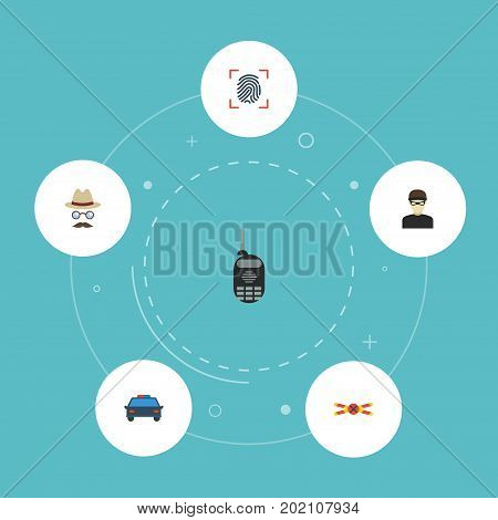 Flat Icons Thumbprint, Warning Strip, Thief And Other Vector Elements