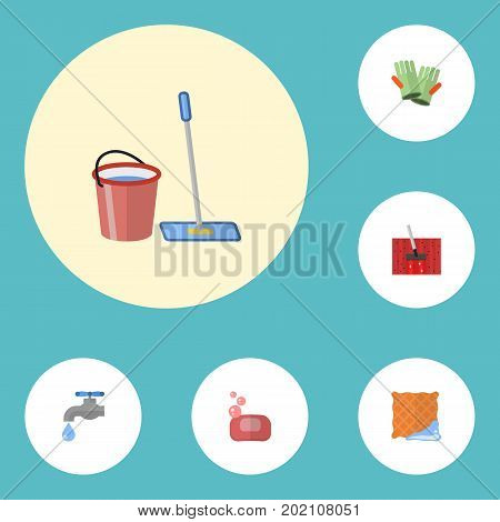 Flat Icons Carpet Vacuuming, Gauntlet, Mopping And Other Vector Elements