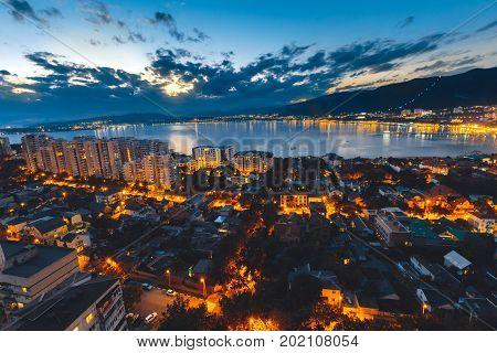 Panorama Of Night City Of Gelendzhik In Summer Season