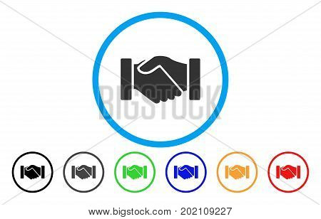 Acquisition Handshake vector rounded icon. Image style is a flat gray icon symbol inside a blue circle. Bonus color variants are grey, black, blue, green, red, orange.
