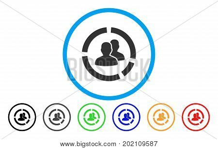 Demography Diagram vector rounded icon. Image style is a flat gray icon symbol inside a blue circle. Additional color variants are gray, black, blue, green, red, orange.
