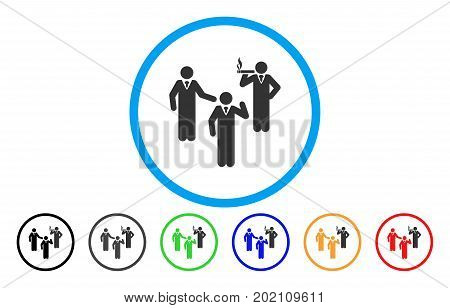 Discussion Group vector rounded icon. Image style is a flat gray icon symbol inside a blue circle. Bonus color versions are grey, black, blue, green, red, orange.