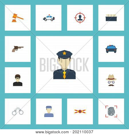 Flat Icons Prisoner, Inspector, Revolver And Other Vector Elements