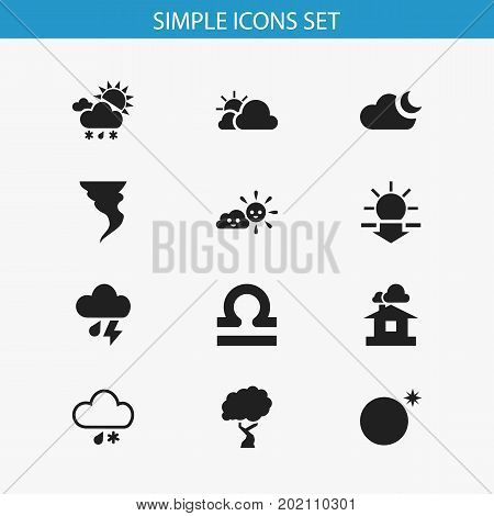 Set Of 12 Editable Climate Icons. Includes Symbols Such As Sundown, Tornado, Scales And More