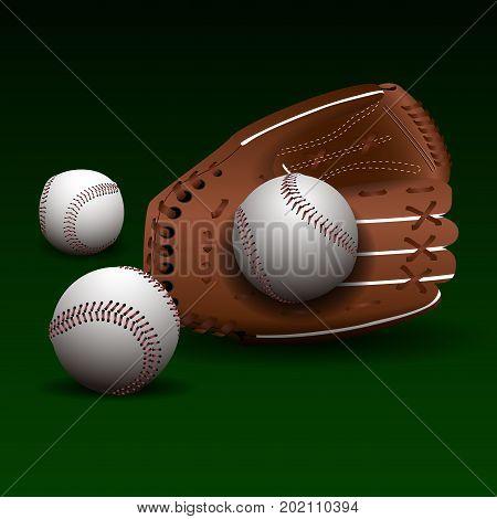 Baseball Glove With Balls