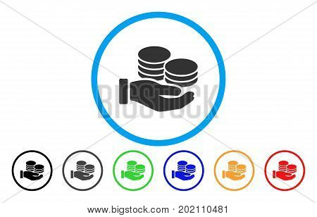 Salary Hand vector rounded icon. Image style is a flat gray icon symbol inside a blue circle. Bonus color variants are grey, black, blue, green, red, orange.