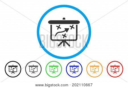 Strategy Path Demonstration Board vector rounded icon. Image style is a flat gray icon symbol inside a blue circle. Bonus color versions are grey, black, blue, green, red, orange.
