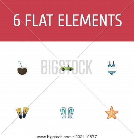Flat Icons Sea Star, Cocos, Car And Other Vector Elements