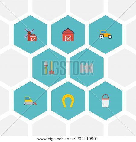 Flat Icons Pail, Wooden Barrier, Talisman And Other Vector Elements