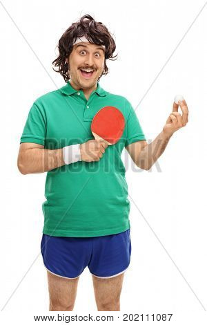 Retro sportsman with a table tennis racket and a ball isolated on white background