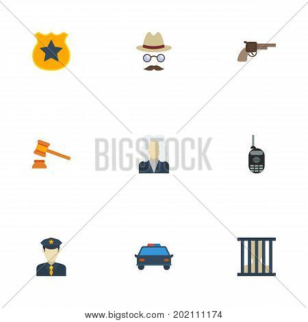 Flat Icons Jail, Revolver, Walkie-Talkie And Other Vector Elements