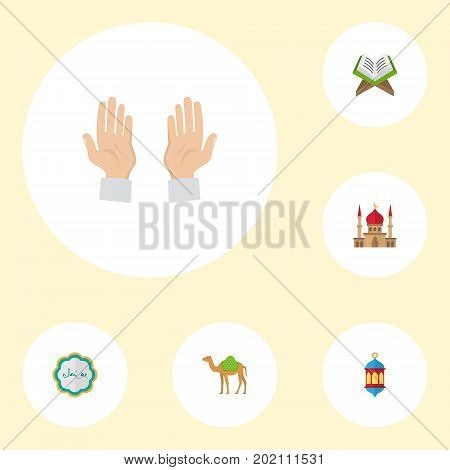 Flat Icons Dromedary, Decorative, Minaret And Other Vector Elements