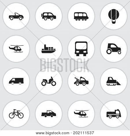 Set Of 16 Editable Transport Icons. Includes Symbols Such As Bogie, Helicopter, Drophead Coupe And More