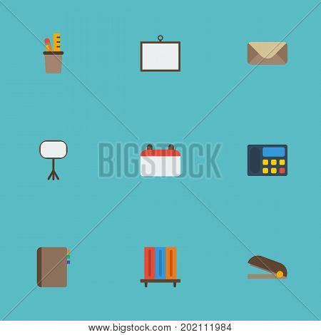 Flat Icons Puncher, Bookshop, Pen Holder And Other Vector Elements