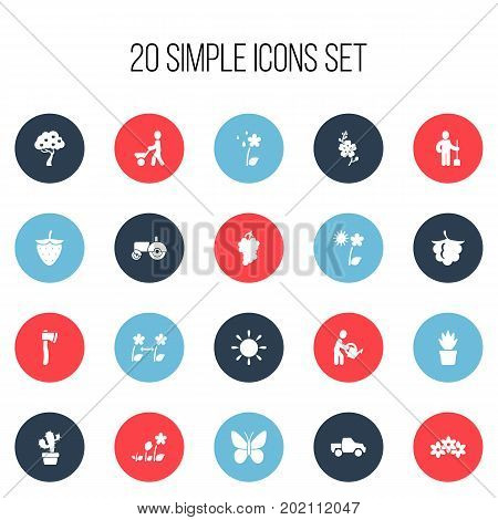 Set Of 20 Editable Agriculture Icons. Includes Symbols Such As Breeding, Van, Man With Trolley And More