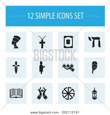 Set Of 12 Editable Faith Icons. Includes Symbols Such As Begging, Christian Cross, Candlestick