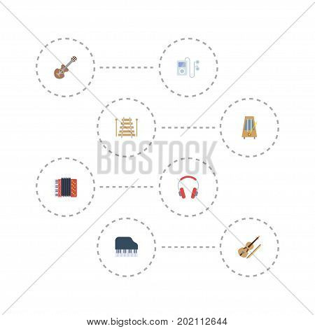 Flat Icons Musical Instrument, Acoustic, Harmonica And Other Vector Elements
