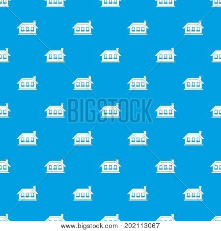 One-storey house with three windows pattern repeat seamless in blue color for any design. Vector geometric illustration