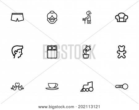 Set Of 12 Editable Relatives Outline Icons. Includes Symbols Such As Grandma, Flowerpot, Clues