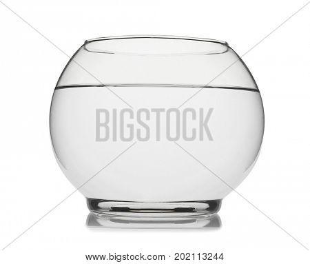 Empty fishbowl isolated on white background.