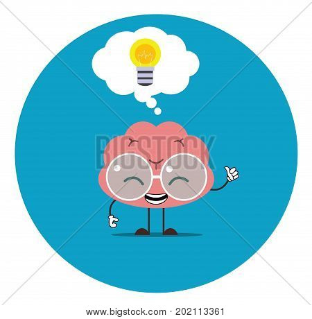 Vector illustration of smile pink brain with glasses and thumb up on blue background with lamp over his head. Evrica brain concept. Doodle style. Flat design