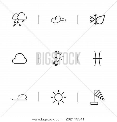 Set Of 9 Editable Air Outline Icons. Includes Symbols Such As Wind Measurement, Hat, Flash And More