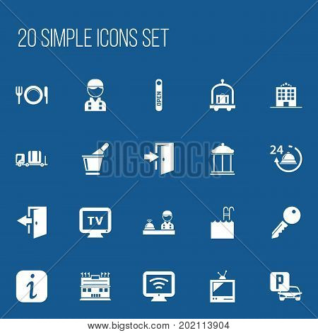 Set Of 20 Editable Motel Icons. Includes Symbols Such As Auto Stand, Champagne , Employee