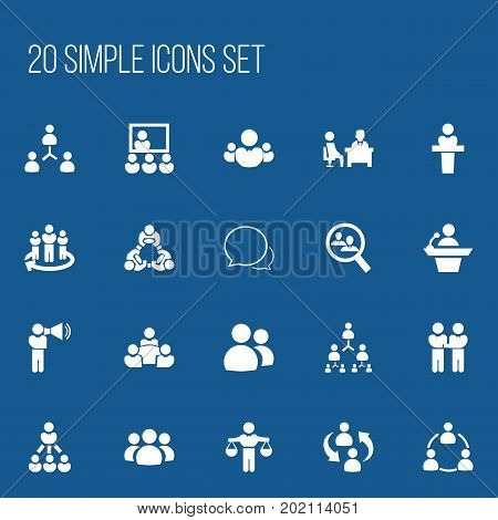 Set Of 20 Editable Team Icons. Includes Symbols Such As Leader, Agreement, Group And More