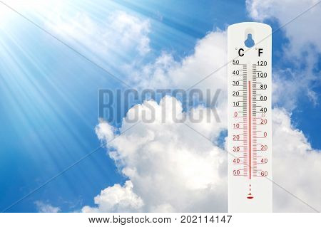 Tropical temperature of 34 degrees Celsius measured on an outdoor thermometer.