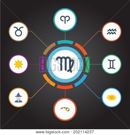 Flat Icons Virgin, Space, Horoscope And Other Vector Elements