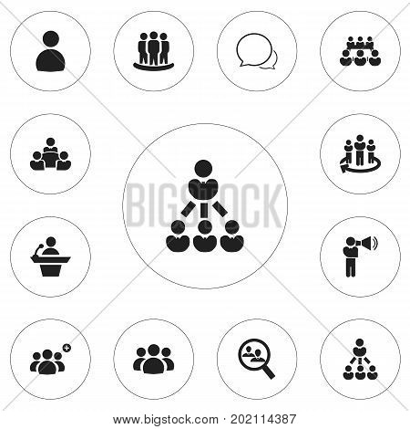 Set Of 12 Editable Cooperation Icons. Includes Symbols Such As Team, Human Resouces, Talking Man And More