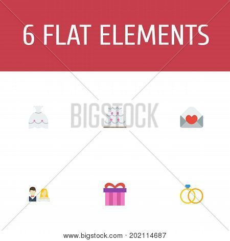 Flat Icons Card, Engagement, Present And Other Vector Elements