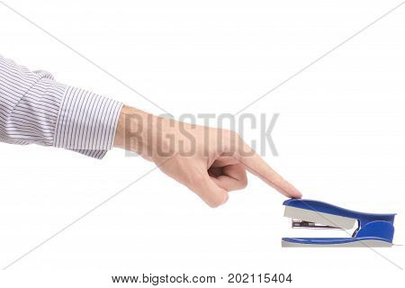 Male hands with a stapler paper on a white background isolation