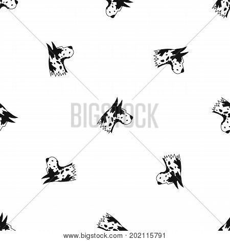 Great dane dog pattern repeat seamless in black color for any design. Vector geometric illustration