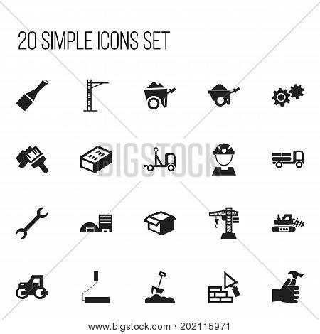 Set Of 20 Editable Construction Icons. Includes Symbols Such As Trolley, Gear, Hoisting Machine And More