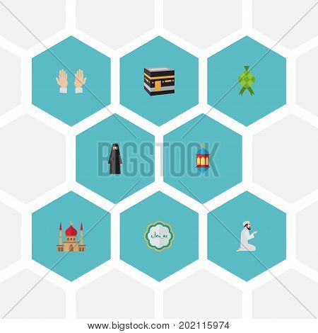 Flat Icons Minaret, Palm, Decorative And Other Vector Elements