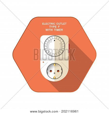 Vector isolated icon of white electric socket type F with mechanic round timer on the red hexagon background with shadow for use in Europe.
