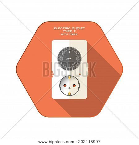 Vector isolated icon of electric outlet type F with mechanic round dark gray timer on the red hexagon background with shadow for use in Europe.