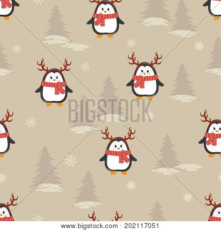 Cute cartoon penguins with deer horns seamless pattern. Vector winter Christmas background.