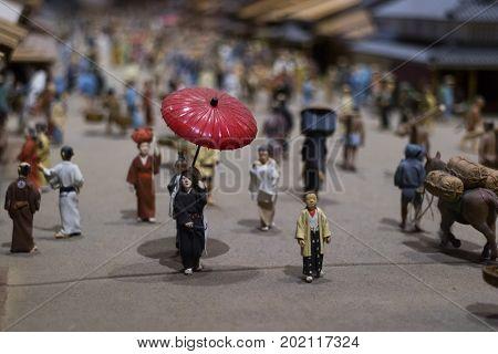 Tokyo, Japan -  May 13, 2017: Edo Tokyo museum interior, display of a daily life scene in the Edo period
