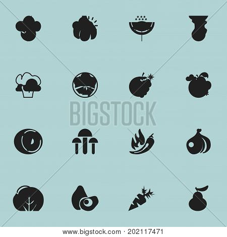 Set Of 16 Editable Dessert Icons. Includes Symbols Such As Duchess, Papaya, Avocado And More