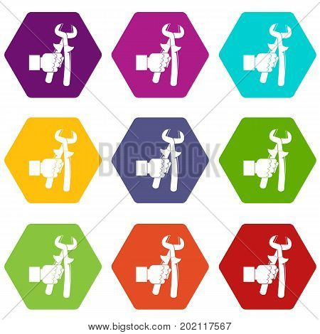 Hand holdimg calipers icon set many color hexahedron isolated on white vector illustration
