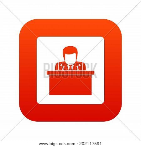 Orator speaking from tribune icon digital red for any design isolated on white vector illustration