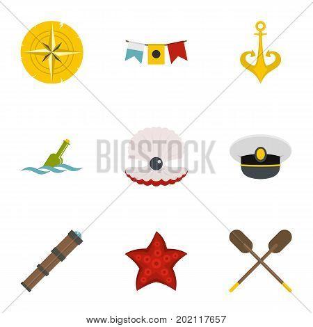 Marine icons set. Flat style set of 9 marine vector icons for web design