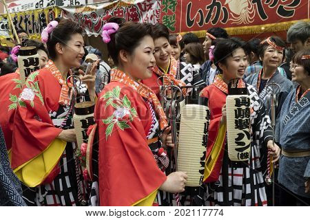 Tokyo, Japan - May 14, 2017:  Female participants dressed in traditional kimono's at the Kanda Matsuri Festval