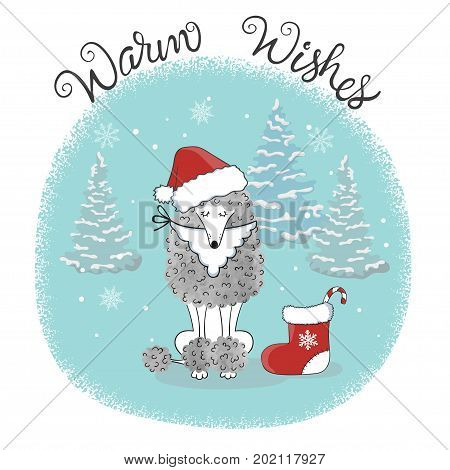 Christmas card template with cute poodle dog in Santa hat. Vector holiday illustration.