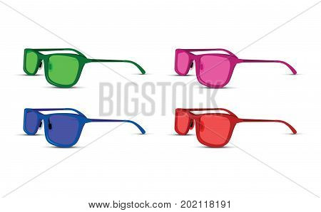 A colored glasses set on white background