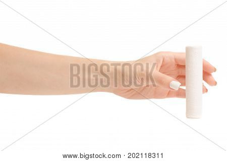 Female hand bandage on white background isolation