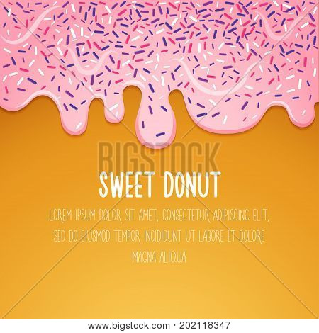 Glazed donut Vector illustration Donut with pink glaze Trendy background card and poster template Doughnut with glaze dripping down Modern realistic illustration